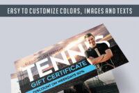 Tennis – Free Gift Certificate Psd Template –Elegantflyer with Tennis Gift Certificate Template