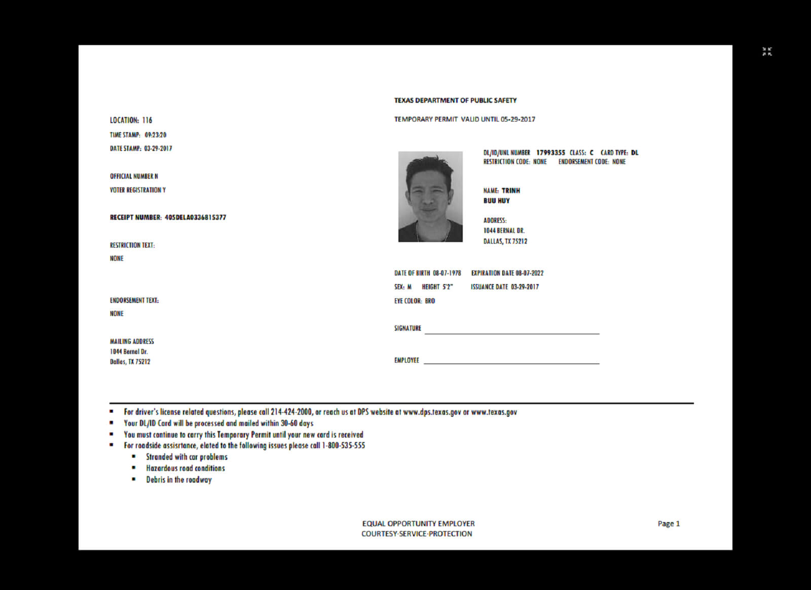 Texas Temp Driver's Permit, Template, Printable, Temporary Pertaining To Texas Id Card Template