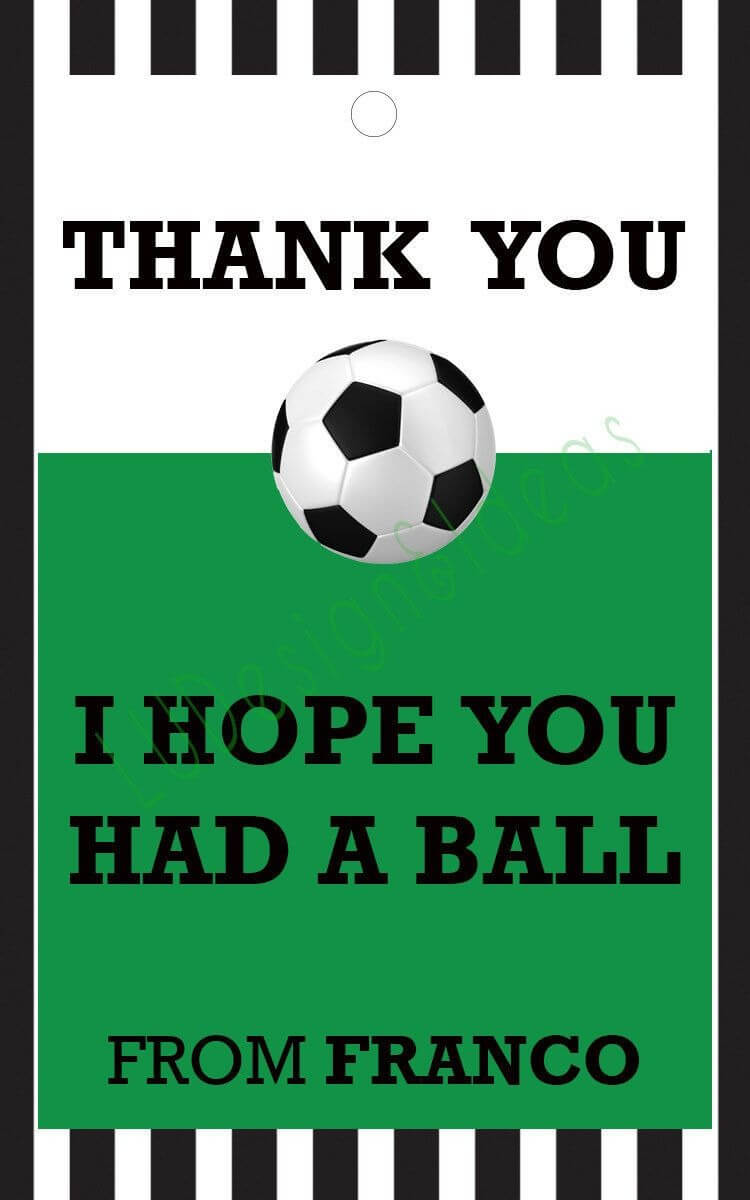 Thank You Card For Party Favors - Soccer Theme Pertaining To Soccer Thank You Card Template