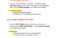 Thank You Card & Gift Certificate Microsoft Publisher . inside Publisher Gift Certificate Template