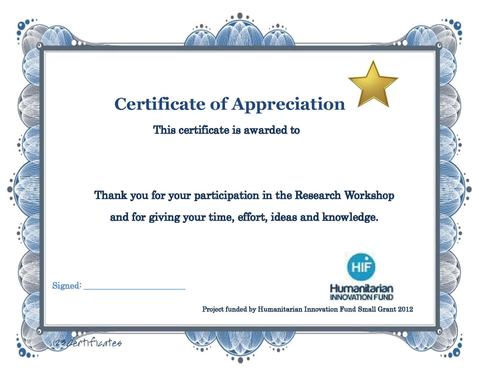 Thank You Certificate Template   Certificate Templates Intended For Sample Certificate Of Participation Template