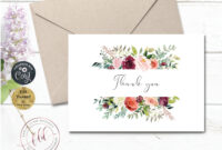Thank You Note Card Template, Printable Fall Florals Wedding with regard to Thank You Note Card Template