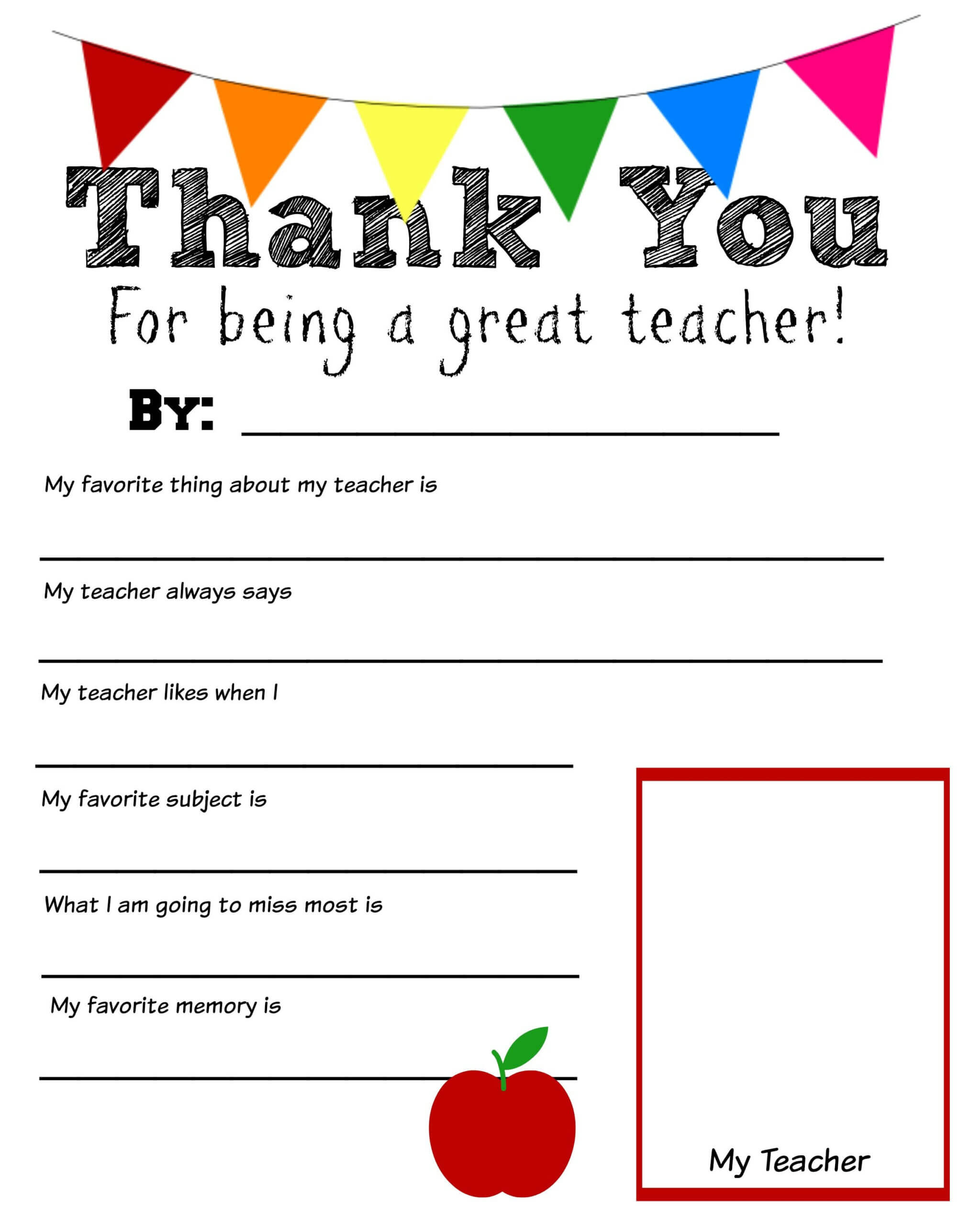 Thank You Teacher Printable | Teacher Appreciation Letter Throughout Thank You Card For Teacher Template