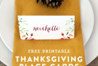 Thanksgiving Place Card And Tent Card Printables intended for Thanksgiving Place Card Templates