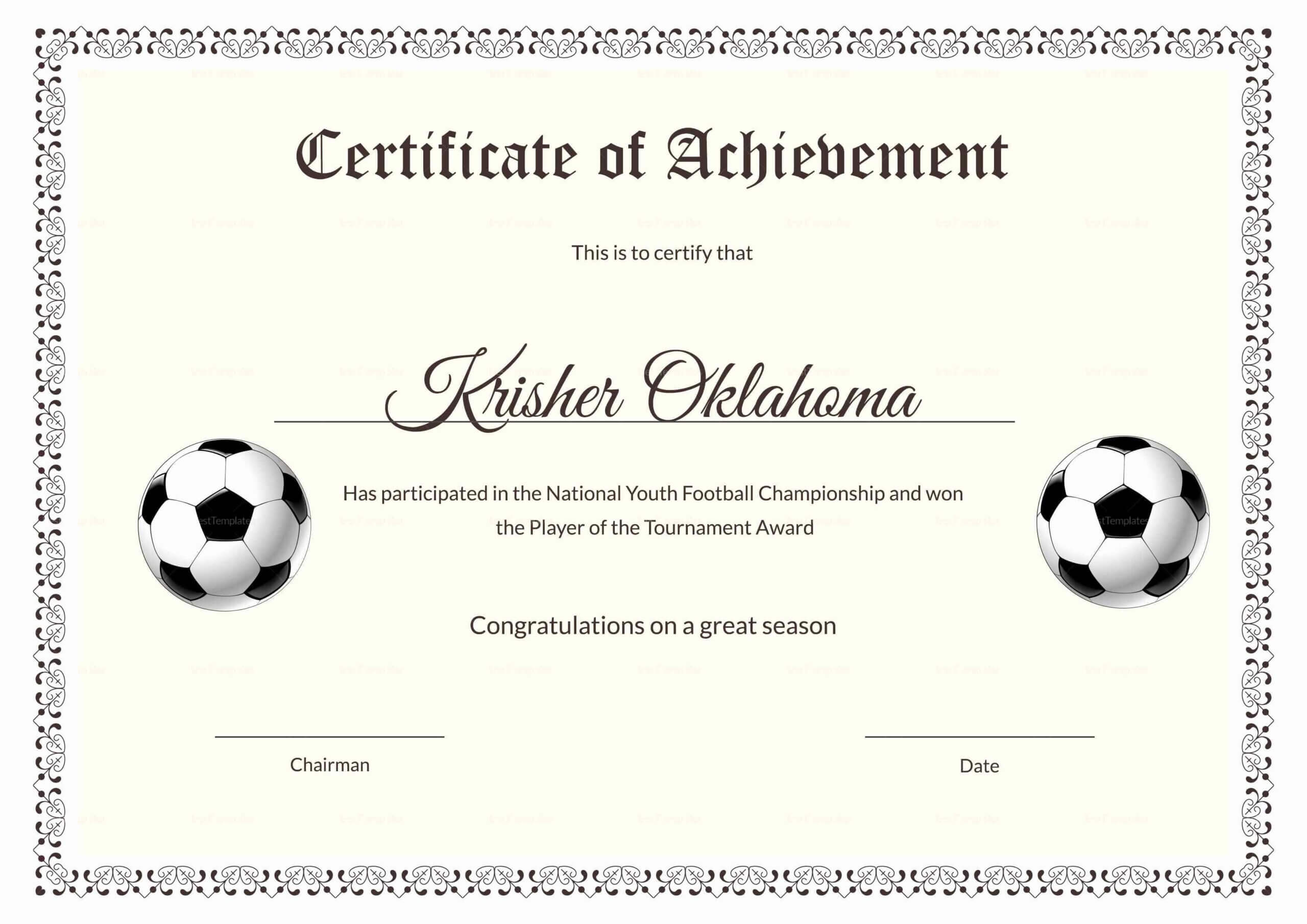 The 27 Best Certificate Templates Images On Pinterest For Football Certificate Template