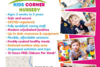 The Back Of An A5 Flyer Designed For Kids Corner Nursery In for Play School Brochure Templates