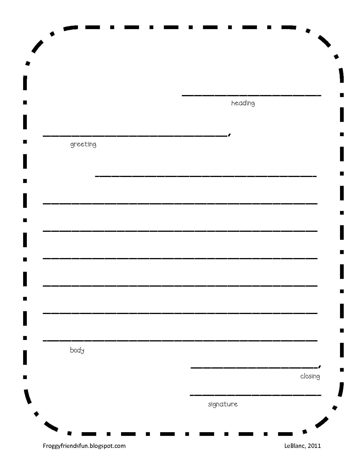 The Best Letter Writing Template For Kids | Bates\'s Website Regarding Blank Letter Writing Template For Kids