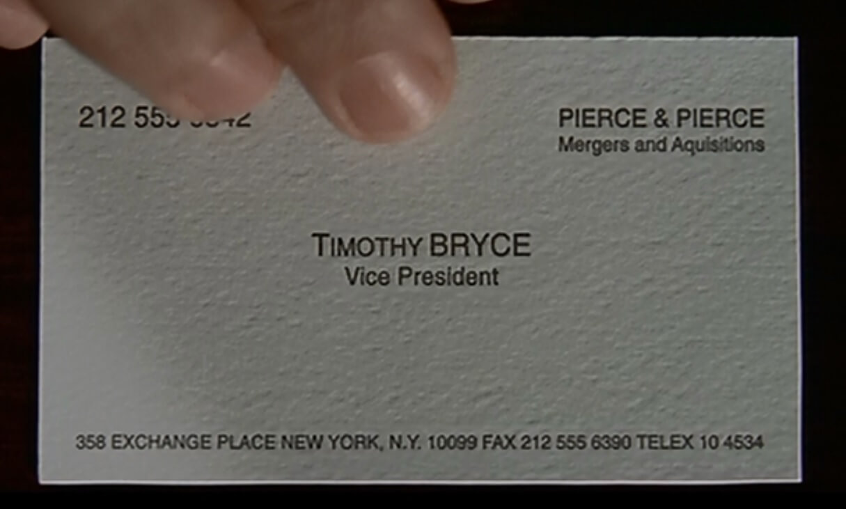 The Business Cards Of American Psycho   Hoban Cards With Paul Allen Business Card Template