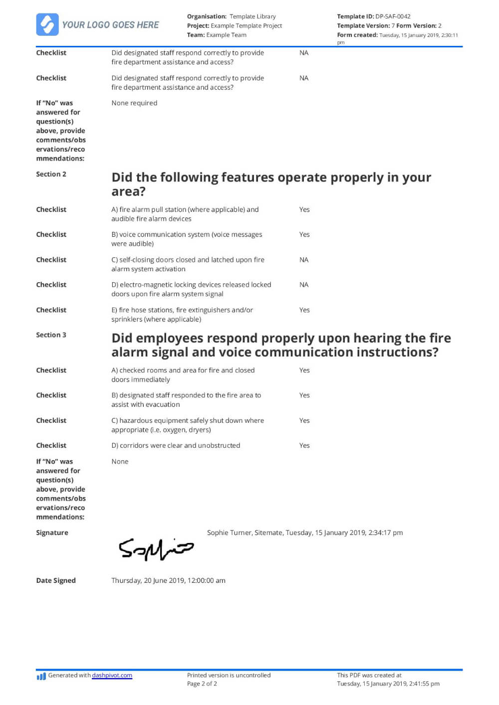 The Marvellous Free Fire Drill Report Template – Use With Emergency Drill Report Template