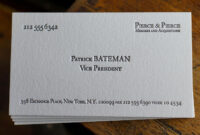The Patrick Bateman – Pictured On 220# Stock | Custom Pertaining To Paul Allen Business Card Template