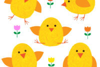 Thumbprint Easter Chicks And Flowers – Download Free Vectors intended for Easter Chick Card Template