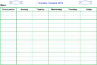 Timetable Template 2018 #schooltimetabletemplateword with Blank Revision Timetable Template