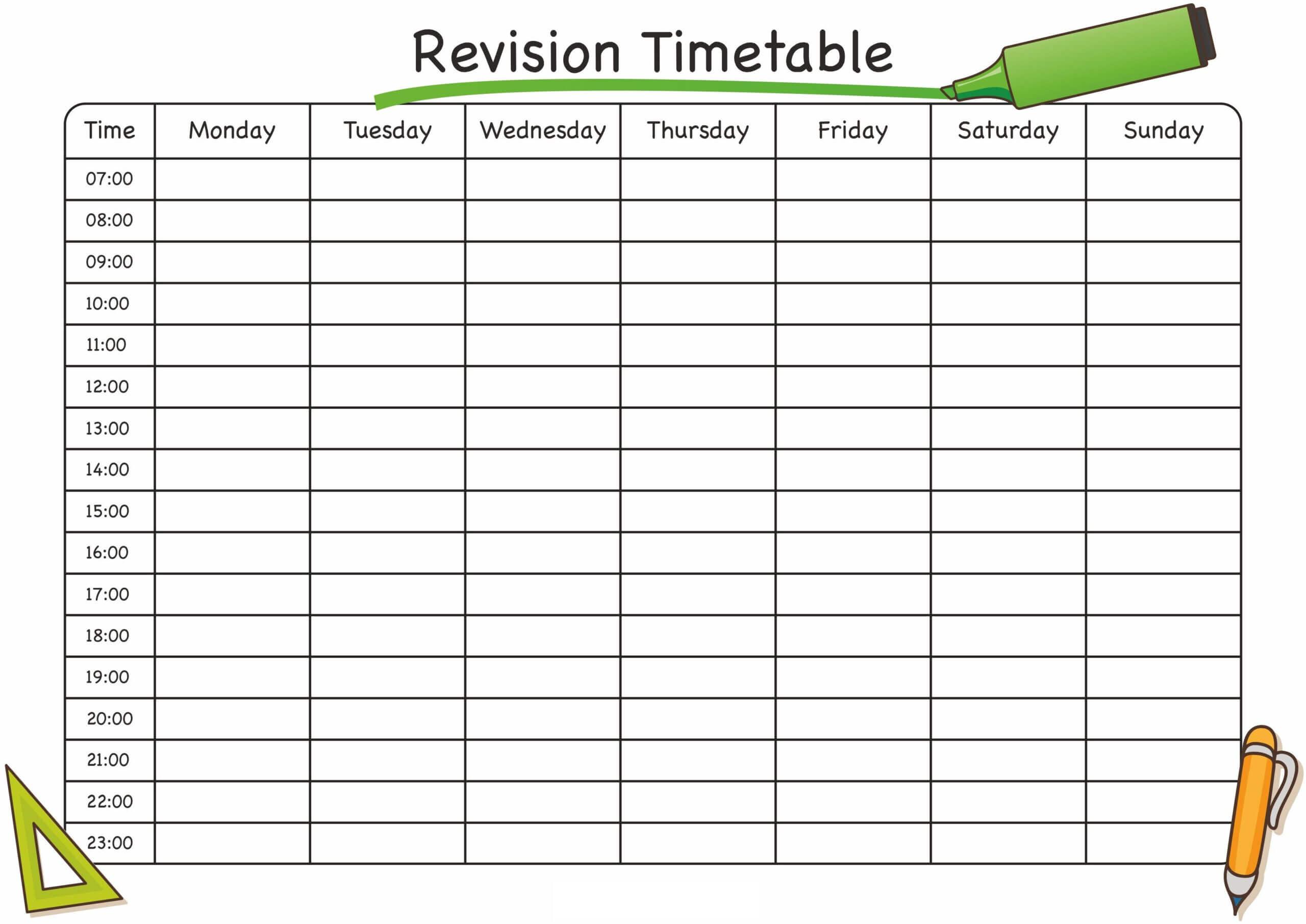 Timetable Template Free #timetabletemplateexcel | Timetable In Blank Revision Timetable Template