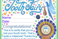 Tooth Fairy Certificate: Award For Losing Your Fourth Tooth pertaining to Free Tooth Fairy Certificate Template