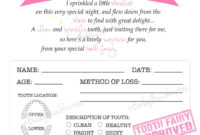 Tooth Fairy Certificate – Pink – Instant Download for Tooth Fairy Certificate Template Free