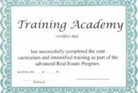 Training Certificate Template – Certificate Templates with regard to Template For Training Certificate