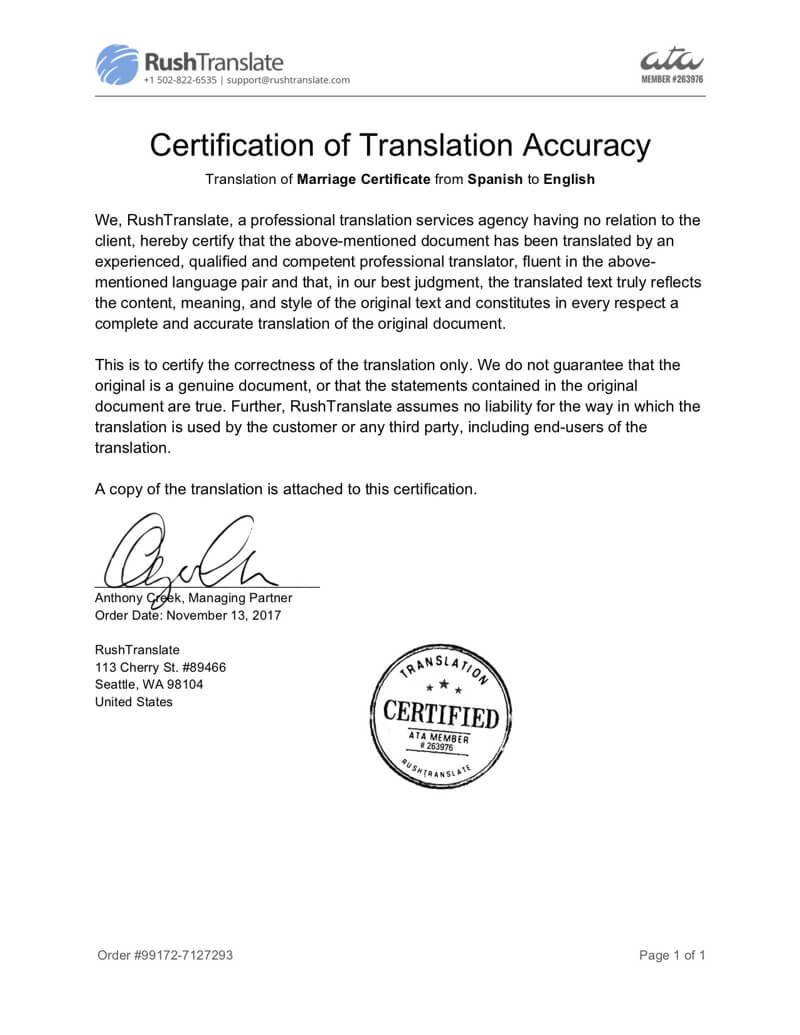 Translation Services With Birth Certificate Translation Template Uscis