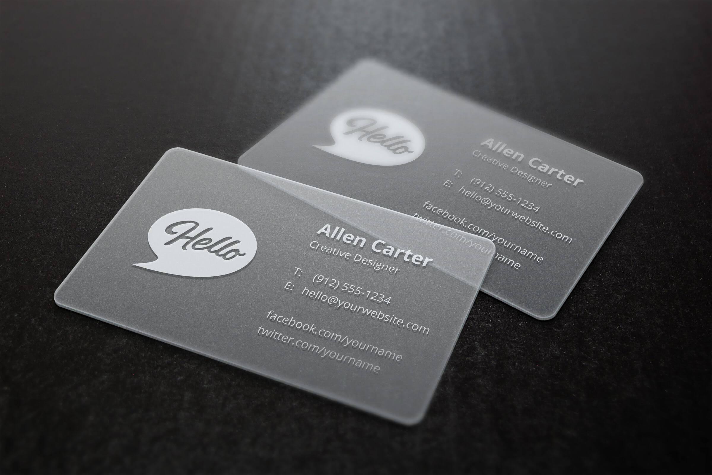 Translucent Business Cards Mockup | Business Card Mock Up With Transparent Business Cards Template