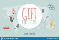 Travel Gift Certificate. Hand Drawn Doodle Style. Explore with Free Travel Gift Certificate Template