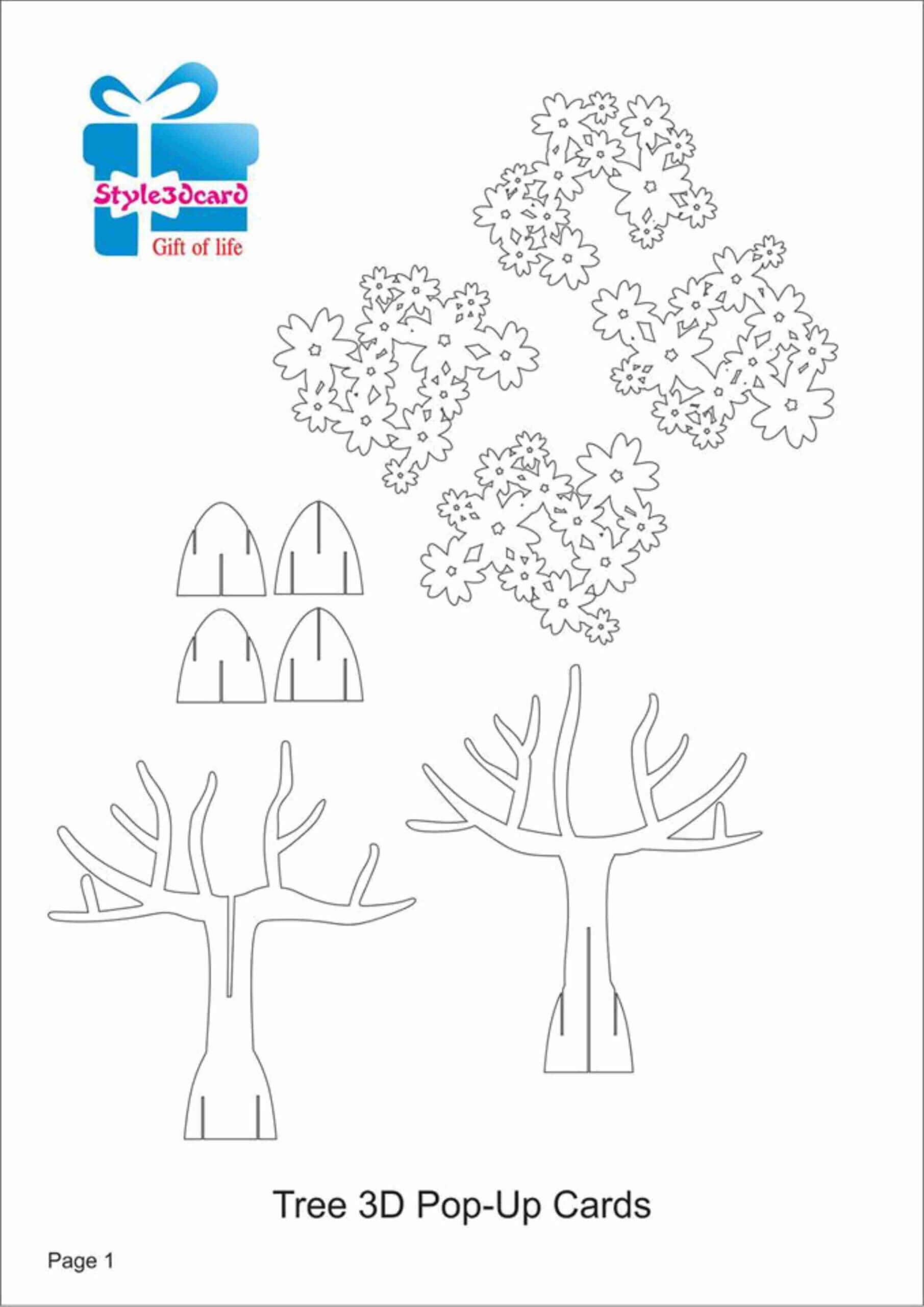 Tree 3D Pop Up Card/ Kirigami Pattern 1 | Pop Up Card With Pop Up Tree Card Template