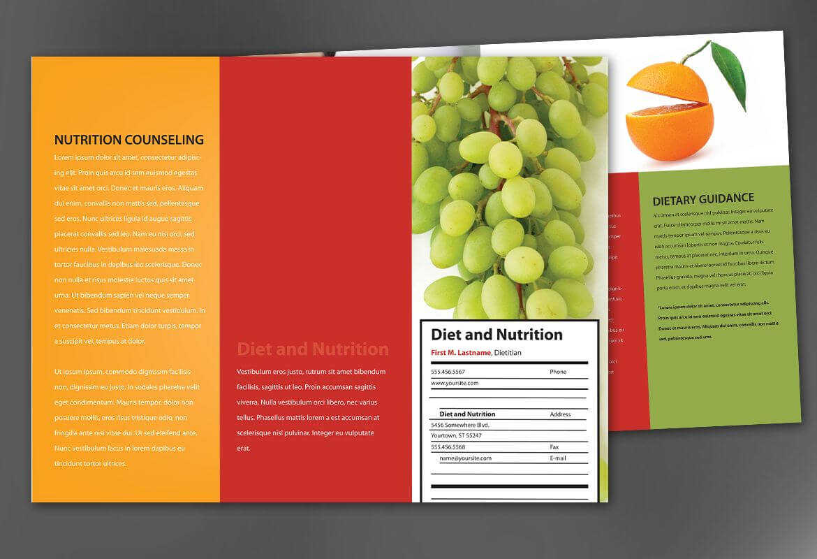 Tri Fold Brochure Template For Health And Nutrition. Order With Nutrition Brochure Template