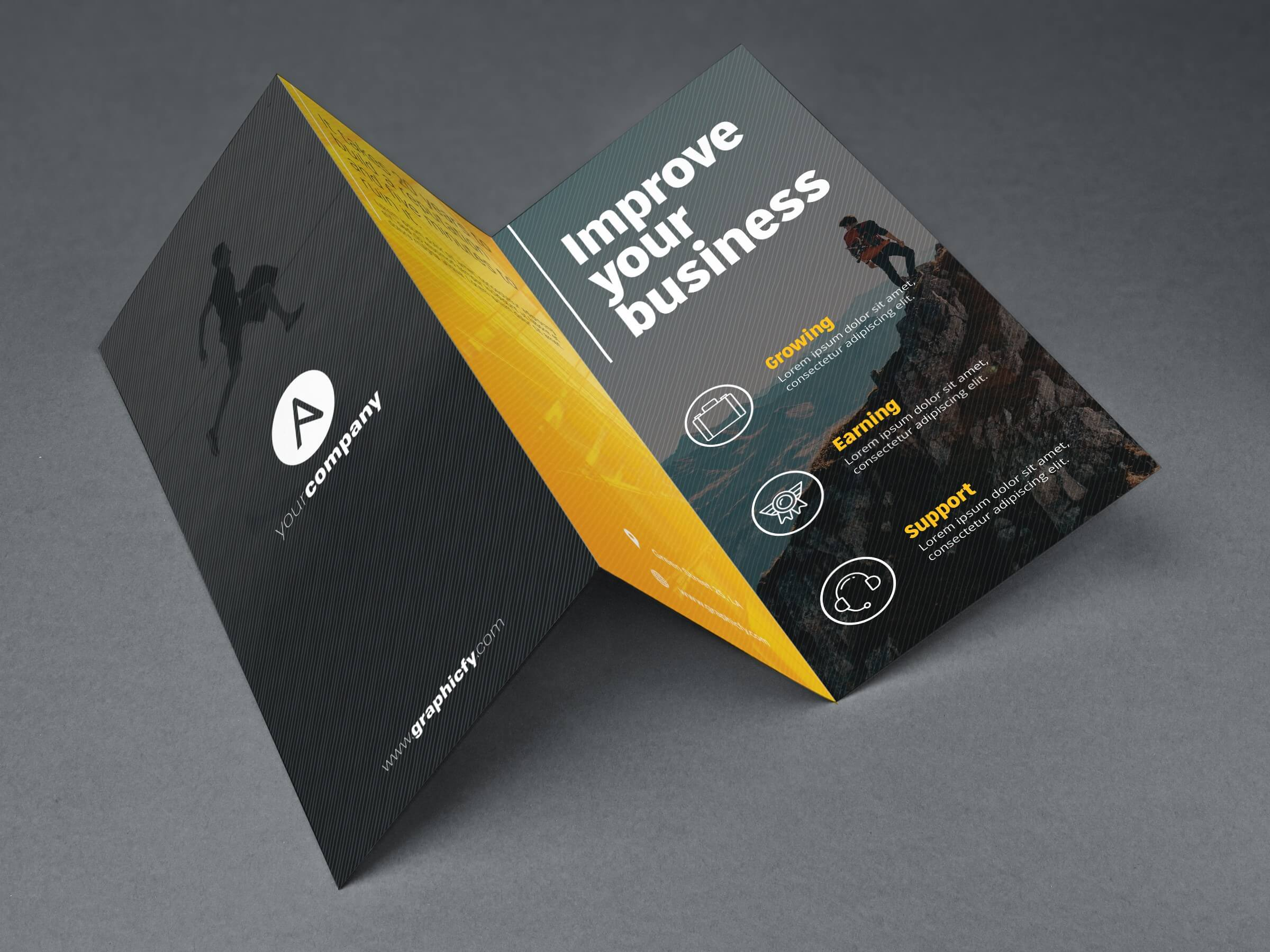 Tri Fold Brochure Template Psd Pertaining To 3 Fold Brochure Template Psd