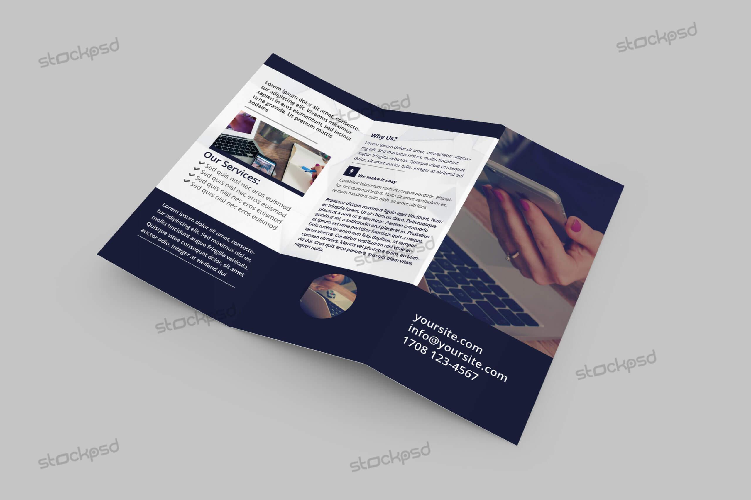 Tri Fold Corporate Brochure – Free Psd Template – Free Psd Pertaining To Brochure Psd Template 3 Fold
