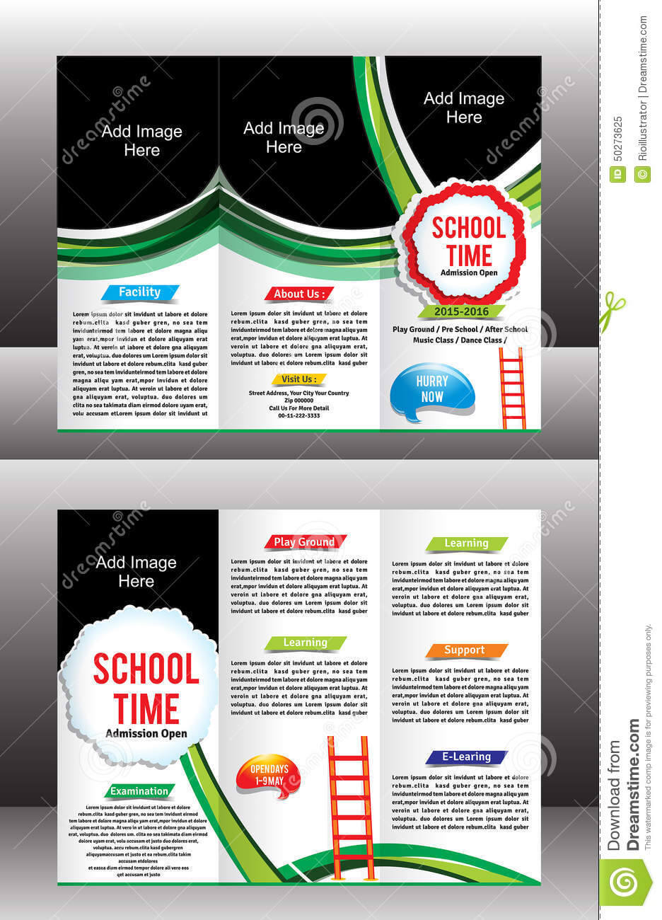 Tri Fold School Brochure Template Stock Vector In Tri Fold School Brochure Template