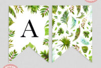 Tropical Greenery Baby Shower Bunting Flag Banner | Baby within Diy Baby Shower Banner Template