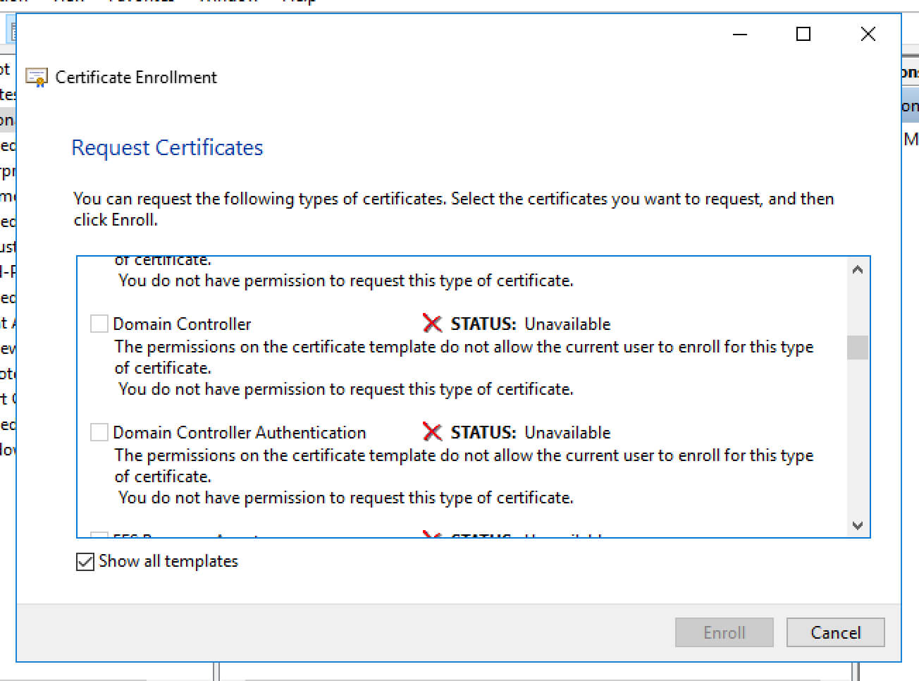 Unable To Request New Certificate From Nps Server For Domain Controller Certificate Template