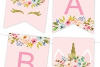 Unicorn Floral Printable Banner | Birthday Banner Template regarding Free Happy Birthday Banner Templates Download