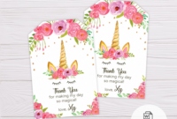 Unicorn Thank You Card Template throughout Thank You Card Template Word