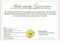 Unique Certificate Of Authenticity Template Free Ideas regarding Certificate Of Authenticity Template