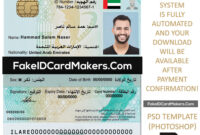 United Arab Emirates Id Card Template Psd [Proof Of Identity] for Florida Id Card Template