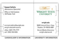 University Business Card | The Wright State University Brand regarding Graduate Student Business Cards Template