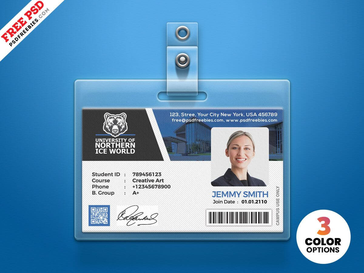 University Student Identity Card Psdpsd Freebies On Dribbble Pertaining To College Id Card Template Psd
