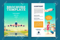 Vector Brochure Template With Airplane Takeoff. Travel Or Tourism.. regarding Travel And Tourism Brochure Templates Free
