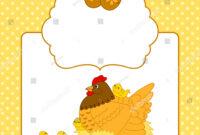 Vector Card Template Easter Chicks Hen Stock Vector (Royalty within Easter Chick Card Template