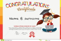 Vector Certificate For School Children Template. Stock intended for Children's Certificate Template