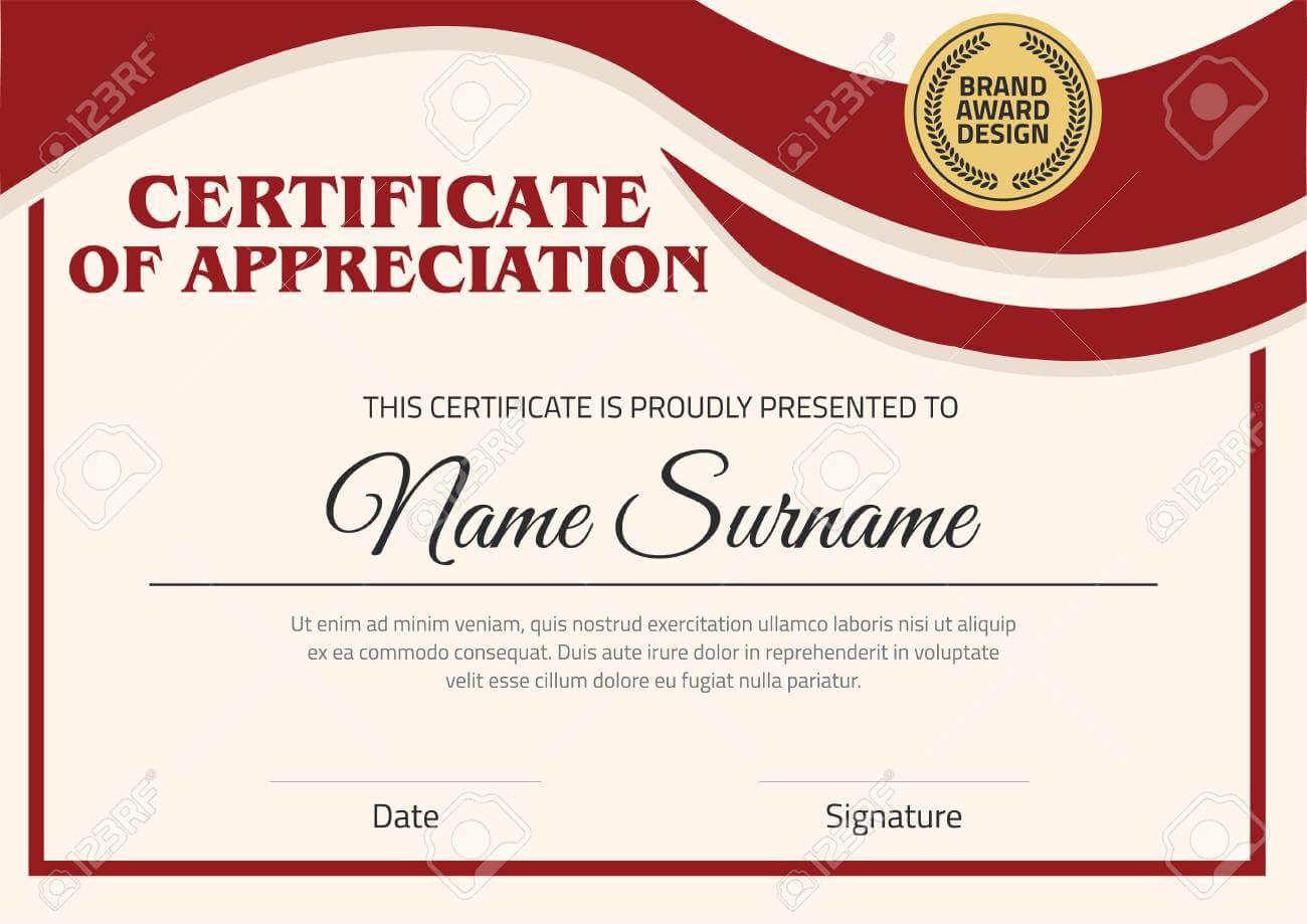 Vector Certificate Template. Certificate In A4 Size Pattern. With Certificate Template Size