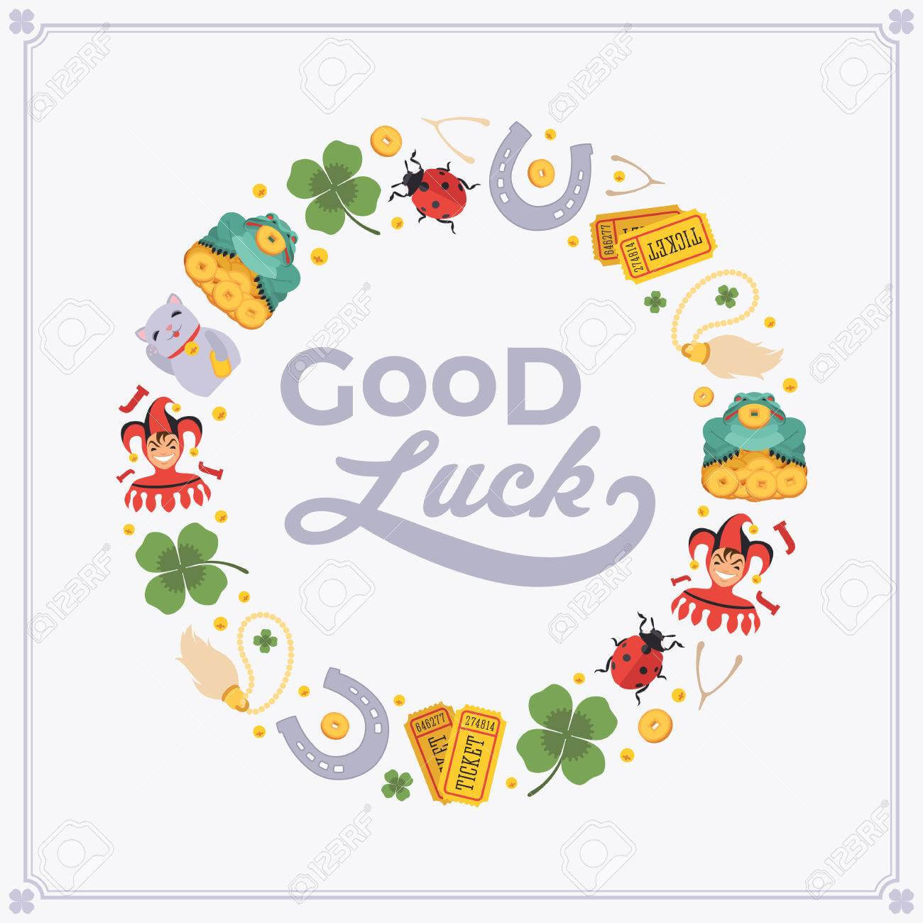Vector Decorating Design Made Of Lucky Charms, And The Words.. Inside Good Luck Card Template