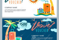 Vector Gift Travel Voucher Template. Tropical Island for Free Travel Gift Certificate Template