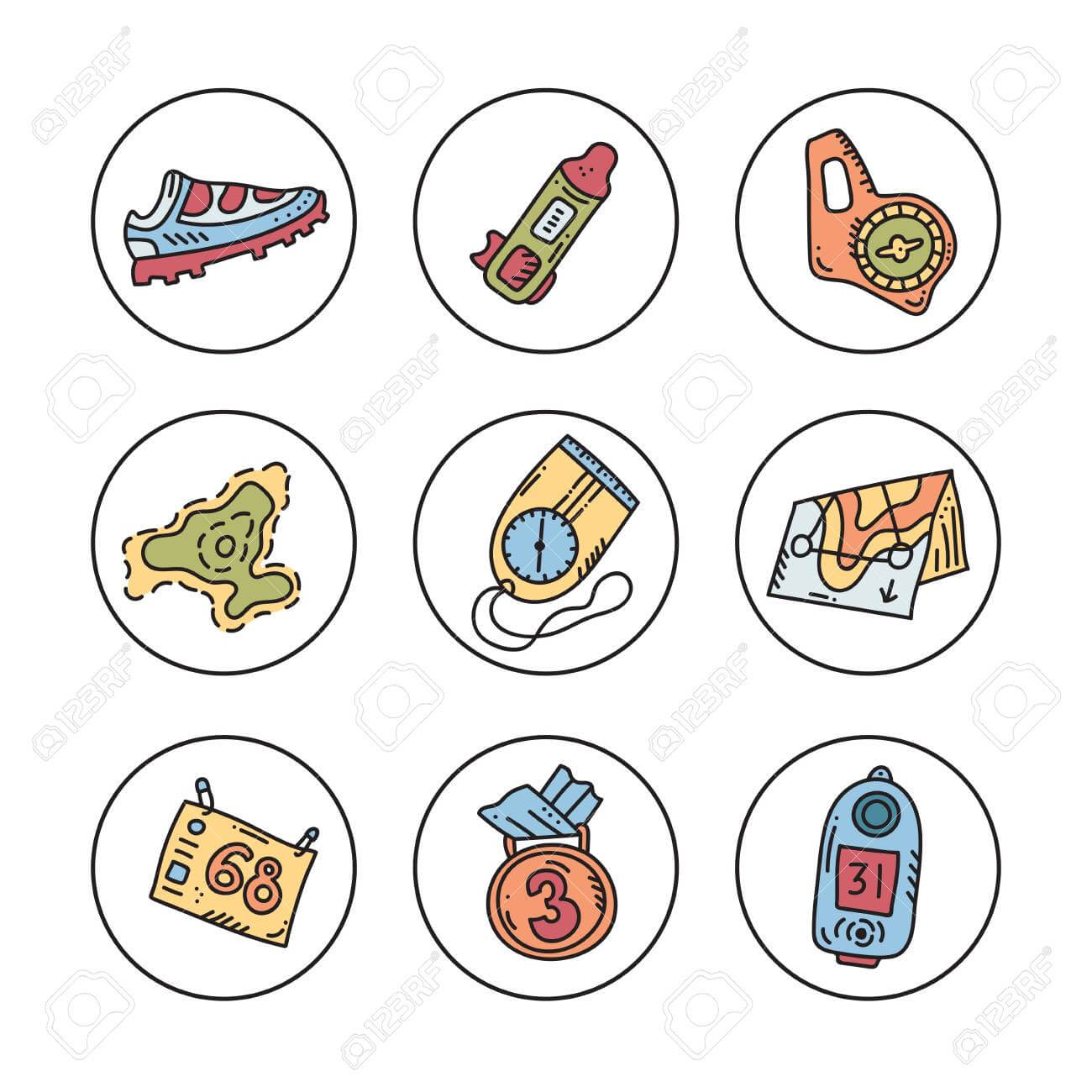 Vector Illustration Of Sport Orienteering Isolated Elements:.. Throughout Orienteering Control Card Template
