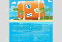 Vector Illustration Of Travel Suitcase On The Sea Island regarding Island Brochure Template