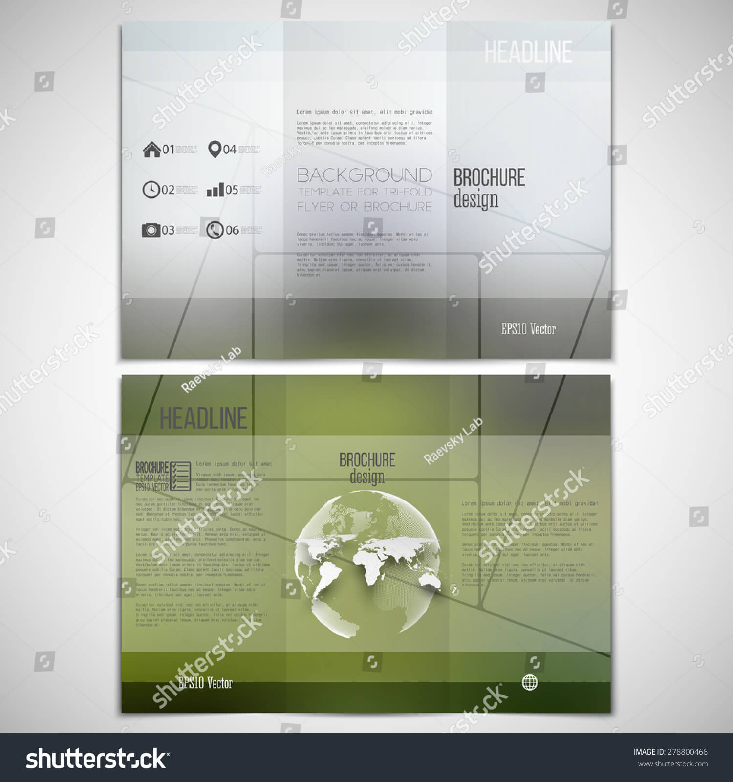Vector Set Trifold Brochure Design Template Stock Vector Inside One Sided Brochure Template