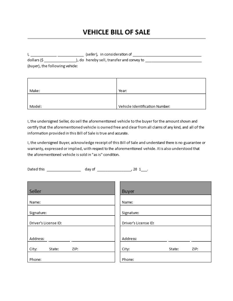 Vehicle Bill Of Sale – Vehicle Bill Of Sale.doc. Easy To With Regard To Car Bill Of Sale Word Template