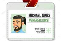 Venereologist Identification Badge Vector. Man. Id Card pertaining to Hospital Id Card Template