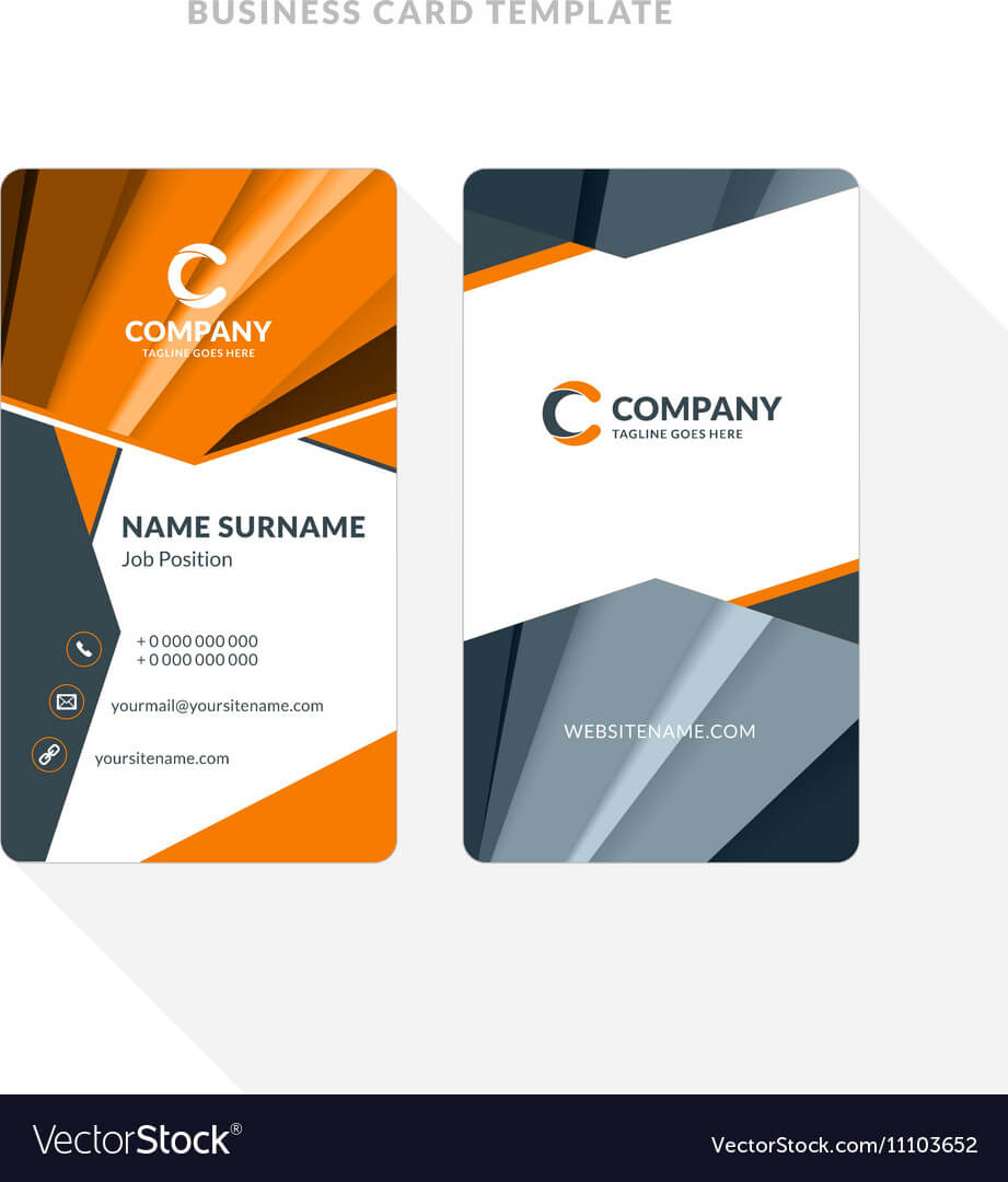 Vertical Double Sided Business Card Template With Throughout Double Sided Business Card Template Illustrator
