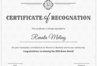 Vintage Certificate Of Recognition Template inside Template For Recognition Certificate