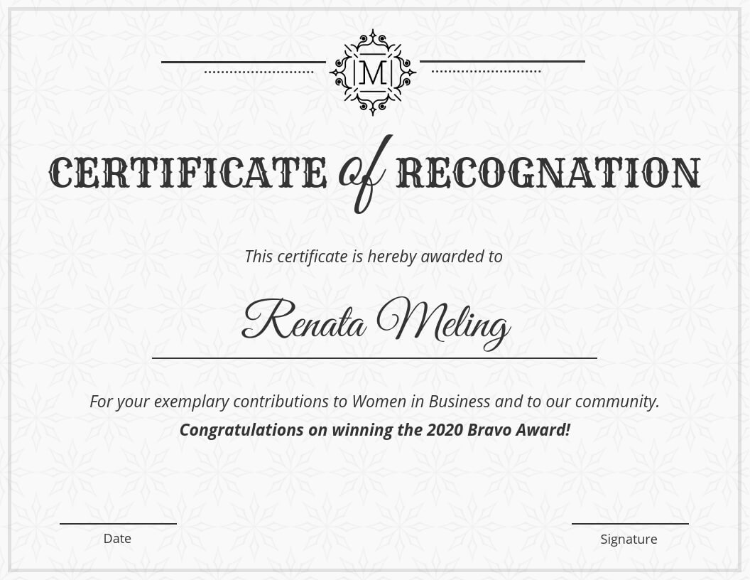 Vintage Certificate Of Recognition Template Within Hayes Certificate Templates